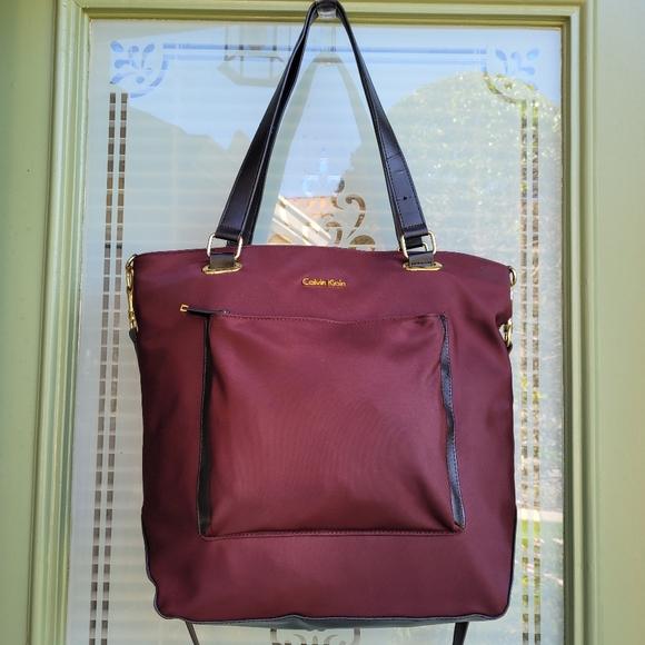 CALVIN KLEIN Abby Large Messenger Shoulder Bag Crossbody Tote Burgundy Red Black